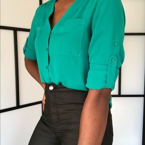 Express Collarless V-Neck Blouse in teal
